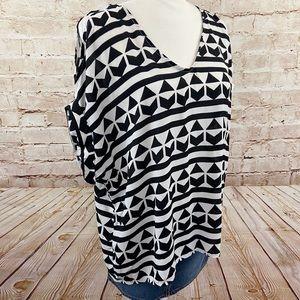 Lush cold shoulder loose Aztec blouse